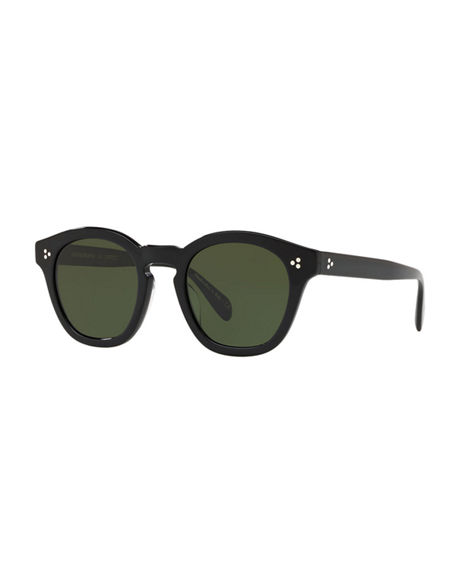 Image 1 of 2: Oliver Peoples Boudreau L.A. Mirrored Round Acetate Sunglasses
