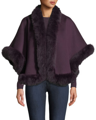 Neiman Marcus Cashmere Collection Luxury Cashmere Fox Fur-Trim