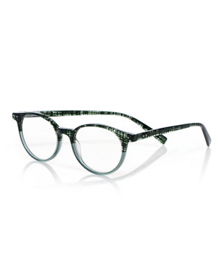Case Closed Plaid Acetate Reading Glasses in Green