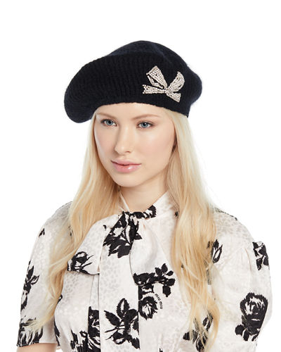 Carina Embellished Bow Mohair-Blend Beret