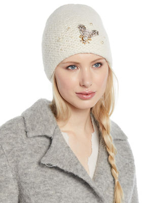 Embellished Bee Knit Beanie Hat in Snow