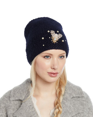 Embellished Bee Knit Beanie Hat, Navy