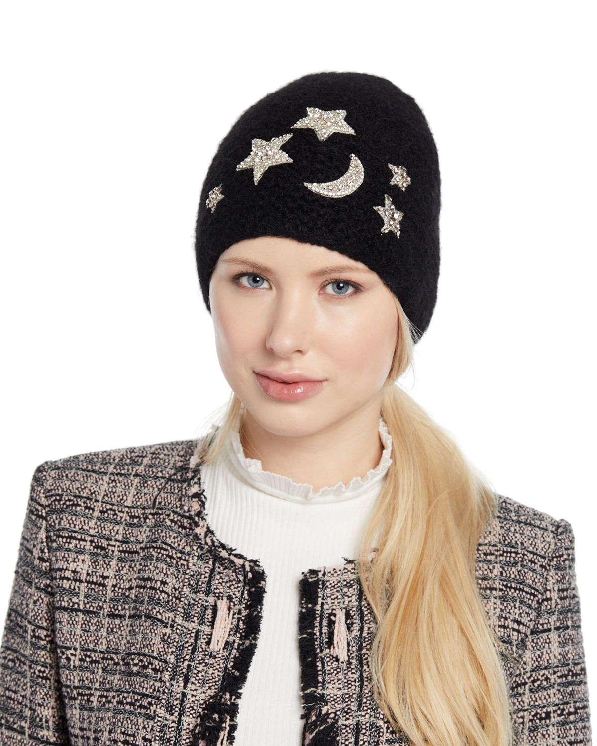 Galexia Stars & Moon Embellished Beanie Hat by Jennifer Behr