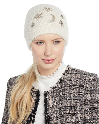 Galexia Stars & Moon Embellished Beanie Hat in Snow