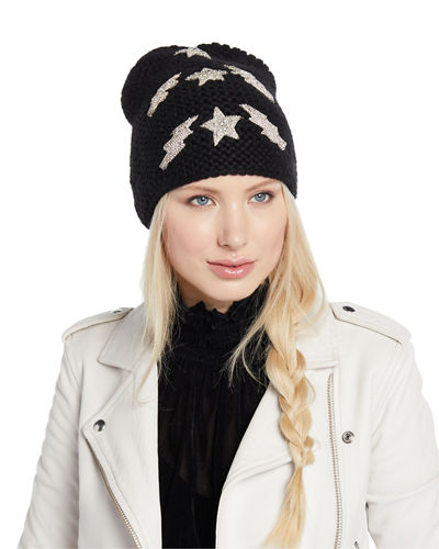 Bowie Lightning Bolts & Stars Embellished Beanie Hat