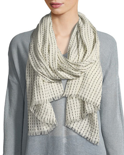 Dash Stripe Organic Cotton/Wool Scarf