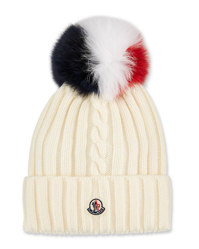 Berretto Knit Beanie Hat w/ Fur Pompom