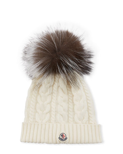 30c43bb67a4 Quick Look. Moncler · Cable-Knit Beanie Hat w  Fur Pompom. Available in  White
