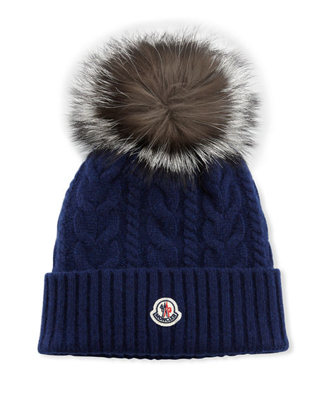 Moncler Cable-Knit Beanie Hat w/ Fur Pompom
