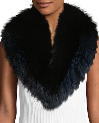 POLOGEORGIS Fox Fur Collar Scarf in Black/Navy