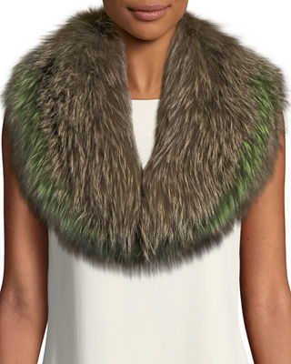 POLOGEORGIS Fox Fur Collar Scarf in Kangaroo/Peridot