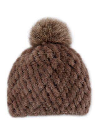POLOGEORGIS Knitted Fur Hat W/ Pompom in Deep Taupe