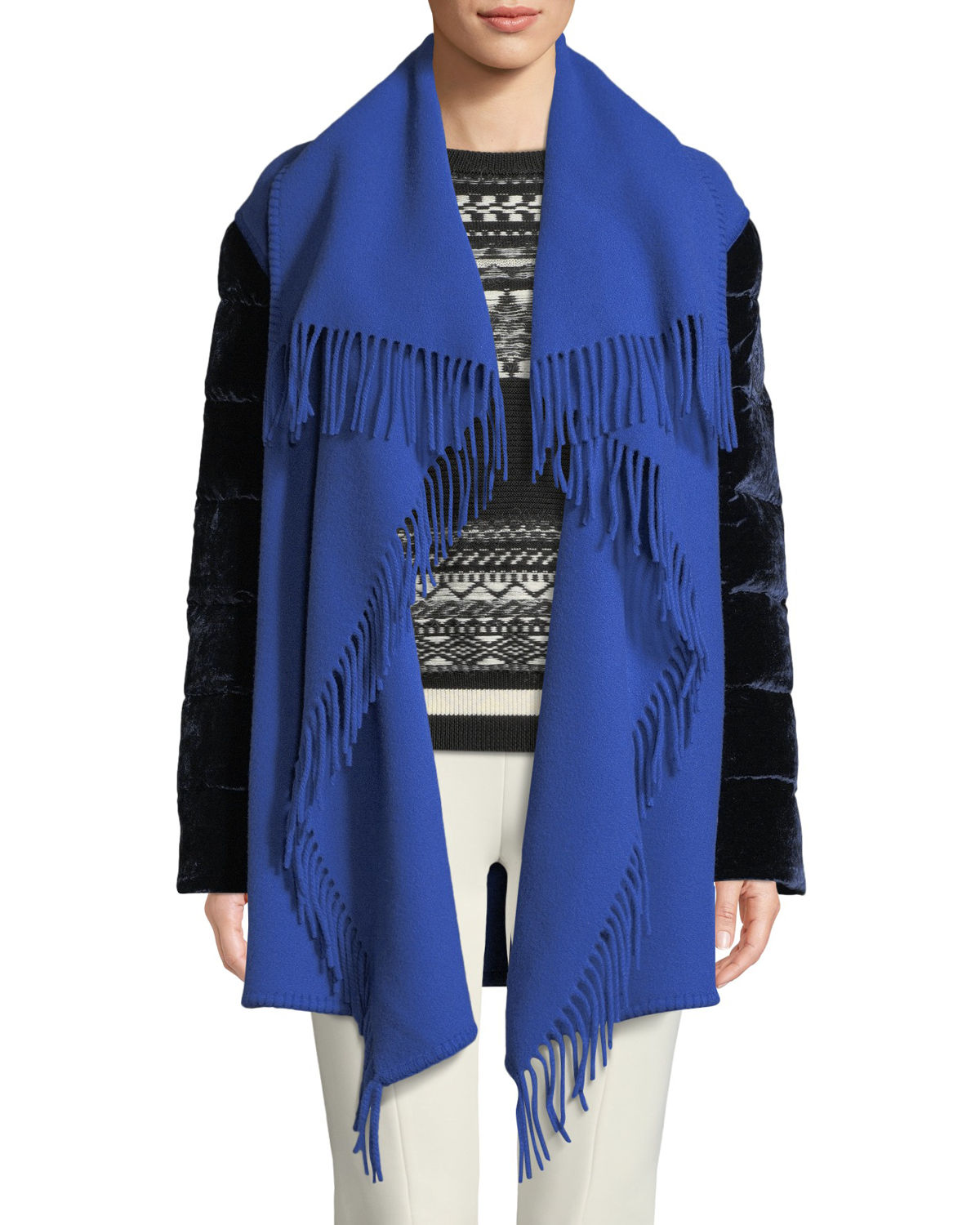 Mantella Fringed Shawl-Collar Quilted-Sleeve Wool Cape