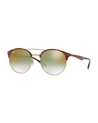 Club Round Mirrored Metal Double-Bridge Sunglasses in Green/Red