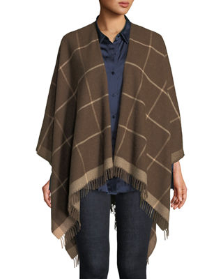 Baby Alpaca Printed Poncho, Regular & Plus in Sepia