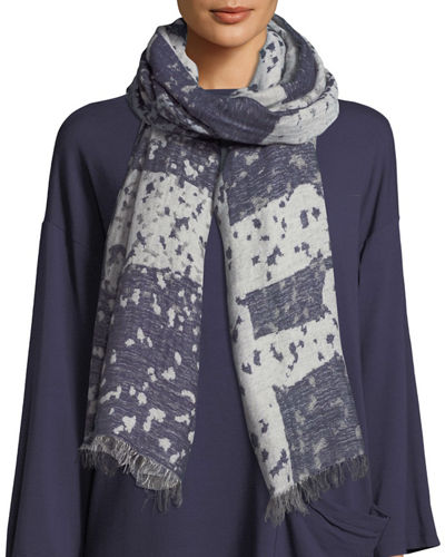 Airy Wool/Linen Jacquard Scarf
