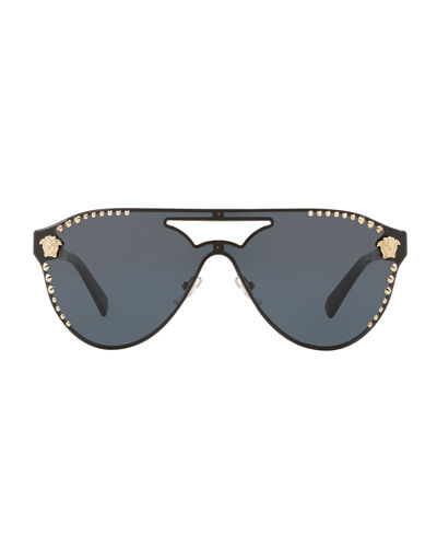 Mirrored Shield Brow-Bar Sunglasses
