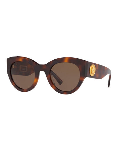 Acetate Monochromatic Cat-Eye Sunglasses