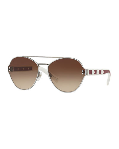 Gradient Butterfly Sunglasses w/ Rockstud Trim