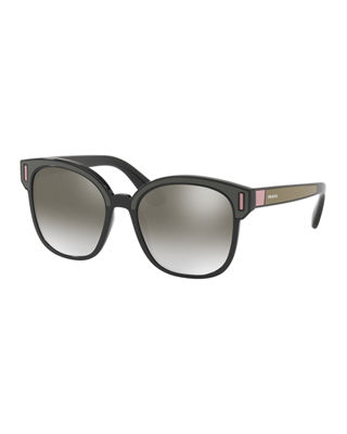 Prada Square Colorblock Mirrored Sunglasses
