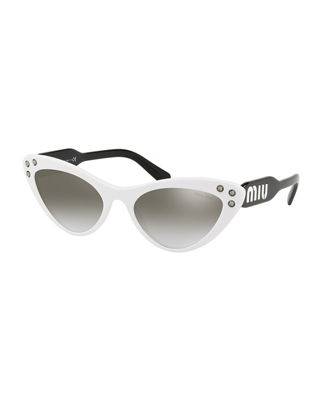 Women'S Embellished Mirrored Gradient Cat Eye Sunglasses, 55Mm in White