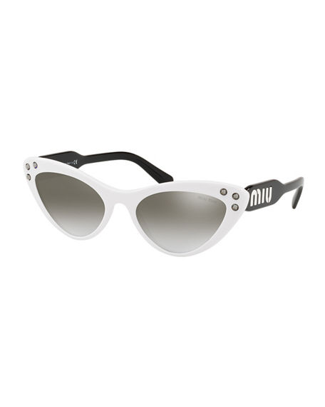 fd97088dfd45 Miu Miu Women's Embellished Mirrored Gradient Cat Eye Sunglasses, 55Mm In  White