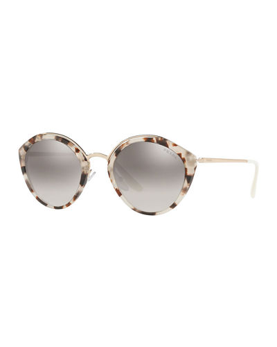 Round Mirrored Acetate & Metal Sunglasses