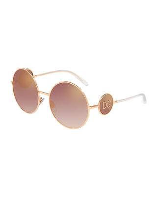 Dolce And Gabbana Pink Round Metal Logo Sunglasses in 12986F Pink