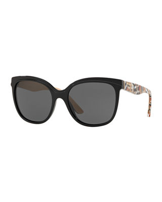 Burberry Gradient Butterfly Sunglasses w/ Check Print Trim