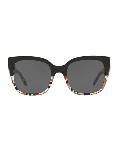 Two-Tone Plastic Square Sunglasses