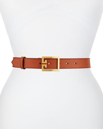 Calfskin Leather Belt w/ Double-G Logo Buckle