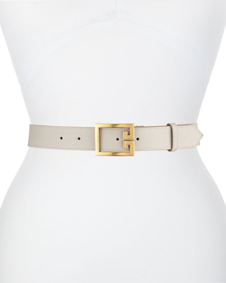 Givenchy Calfskin Leather Belt w/ Double-G Logo Buckle