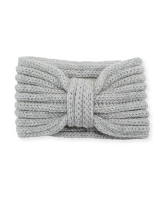 ROSIE SUGDEN Cashmere Knotted Ear Warmer Headband in Light Gray