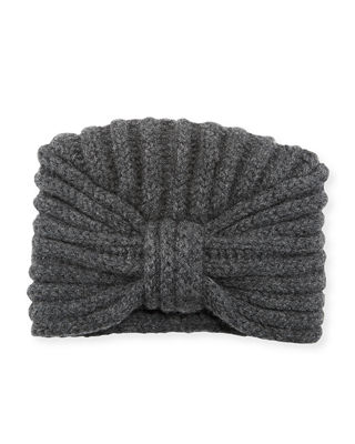 Knit Cashmere Turban Hat in Charcoal