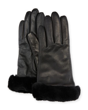 8fbe9ed01fe UGG Leather Gloves w  Shearling Fur Cuffs