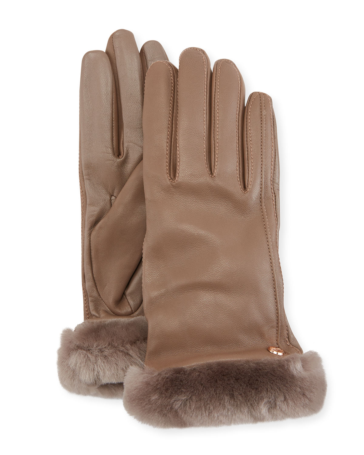 Leather Gloves w/ Shearling Fur Cuffs