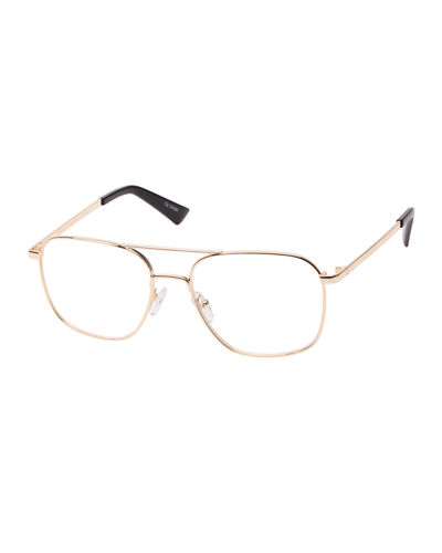 Bored Of The Flings Blue Block Metal Aviator Reading Glasses