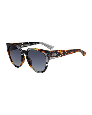 54Mm Special Fit Polarized Cat Eye Sunglasses - Grey/ Black/ Spotted, Gray Tortoise