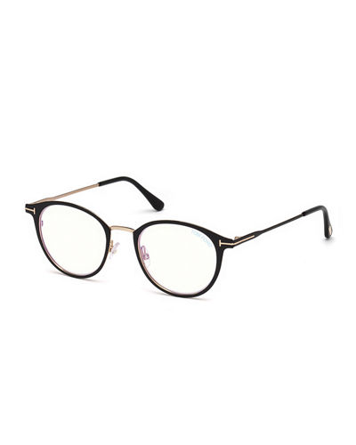 627ecc698a9 Quick Look. TOM FORD · Blue Light-Blocking Oval Acetate Metal Optical Frames