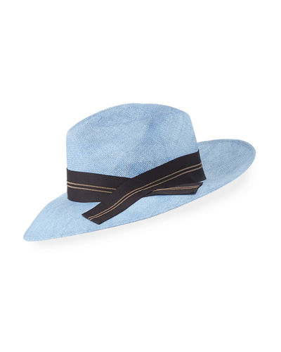 Brunello Cucinelli Straw Fedora Sun-Hat with Grosgrain Ribbon