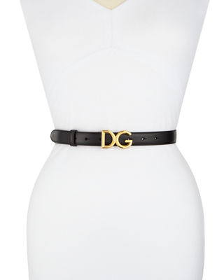 Skinny Leather Belt With Dg Logo Buckle in Nero/Ottone