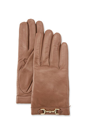 Portolano Napa Leather Cashmere-Lined Gloves w/ Horsebit