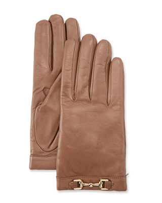 PORTOLANO Napa Leather Cashmere-Lined Gloves W/ Horsebit in Stormy Sky