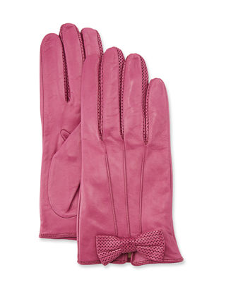 PORTOLANO Napa Leather Gloves W/ Perforated Bow in Bouganville