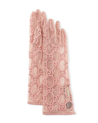 Gucci Silk Tulle GG Motif Gloves