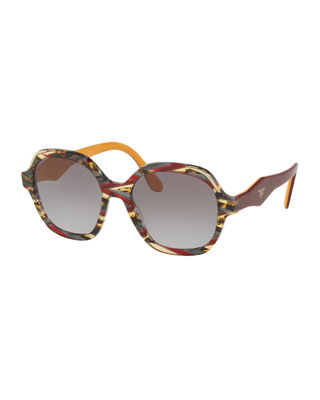 Prada Square Patterned Acetate Sunglasses