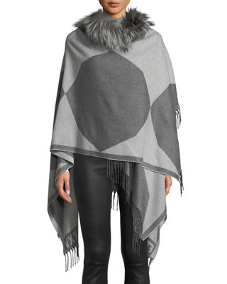 Fendi Colorblock Wool Poncho with Fur Collar