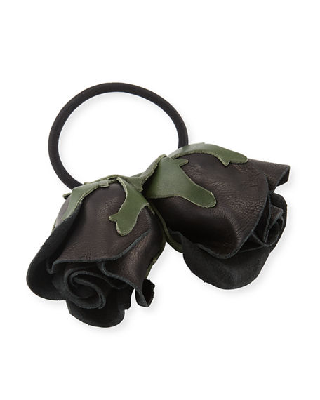 Epona Valley DOUBLE ROSE LEATHER PONYTAIL HOLDER