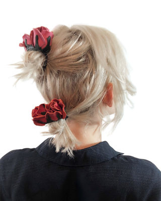 EPONA VALLEY Isa Mini Leather Rose Ponytail Holder in Red