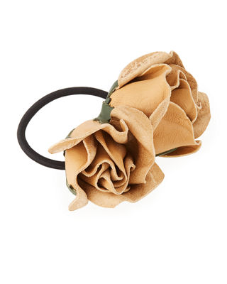 EPONA VALLEY Isa Mini Leather Rose Ponytail Holder in Nude